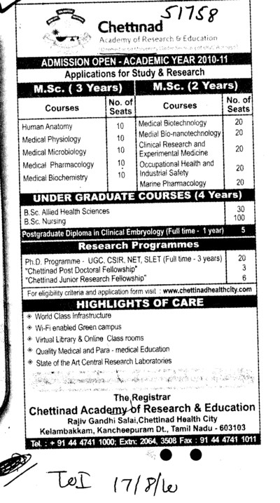Three years and Two years MSc Courses (Chettinad University)