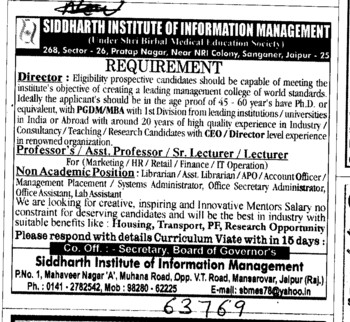 Director,Professor,Asstt Professor and Associate Professor etc (Siddharth Institute of Technology)