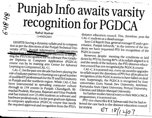Punjab info awaits varsity recognition for PGDCA (Punjab Information Communication Technology Corporation (Punjab Infotech))
