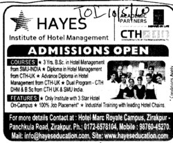Three years BSc in Hotel Management and Diploma in Hotel Management (Hayes Institute of Hotel Management)