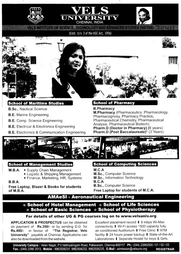 BSc in Nautical Science and BE in Electronics and Electric Engineering etc (VELS University)