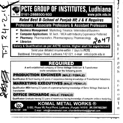Professor,Asstt Professor and Associate Professor etc (PCTE Group of Insitutes Baddowal)