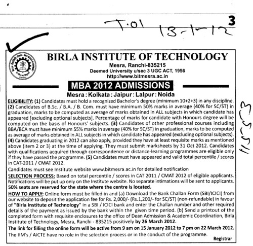 MBA 2012 (Birla Institute of Technology (BIT Mesra))