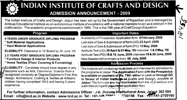 Four years Graduate Programme in Soft and Hard Material (Indian Institute of Craft and Design)