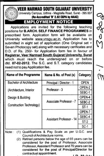 BArch self Finance Programmes (Veer Narmad South Gujarat University)