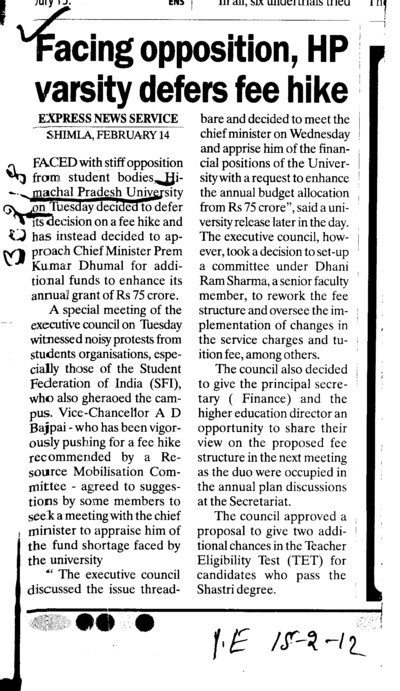 Facing opposition HP varsity defers fee hike (Himachal Pradesh University)
