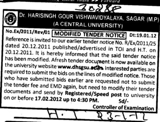 Invitation for Bids (Dr Harisingh Gour University)