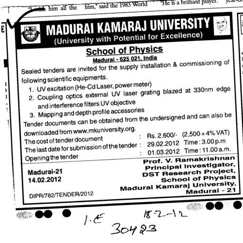 Supply and Installation of UV excitation (Madurai Kamaraj University)