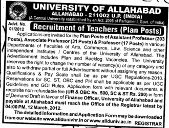 Professor and Assistant Professor (University of Allahabad)