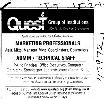 Marketing Professionals and Technical Staff (Quest Group of Institutions)