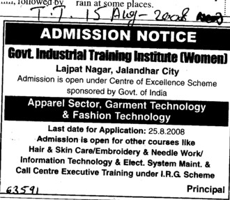 Hair and Skin Care,Needle work and other Courses (Industrial Training Institute (ITI Women))