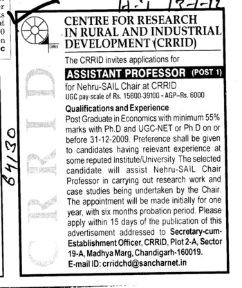 Assistant Professor required (Centre for Research in Rural and Industrial Development (CRRID))