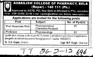 Professor,Asstt Professor and Associate Professor etc (Amar Shaheed Baba Ajit Singh Jujhar Singh Memorial College of Pharmacy ASBASJSM Bela)
