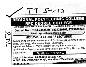 HOD,Senior Lecturer and Lecturer (Regional Polytechnic College)