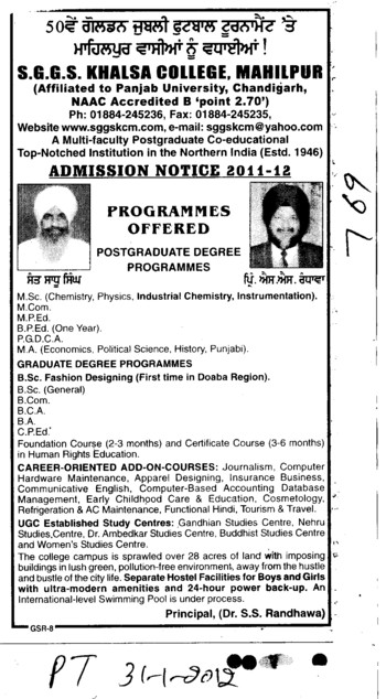 MSc,MCom.MCA and PGDCA etc (SGGS Khalsa College)