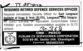 Retired defence Services Officer (Sant Longowal Institute of Engineering and Technology SLIET)
