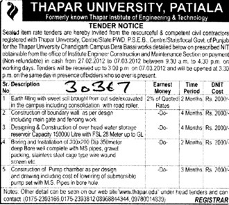 Construction of Building and Boundary wall etc (Thapar University)