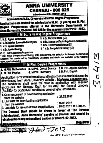 MSc in Biotechnology and MSc in Microbiology etc (Anna University)