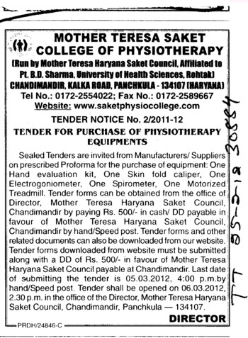 Purchase of Physiotherapy Equipments (Pt BD Sharma University of Health Sciences (BDSUHS))