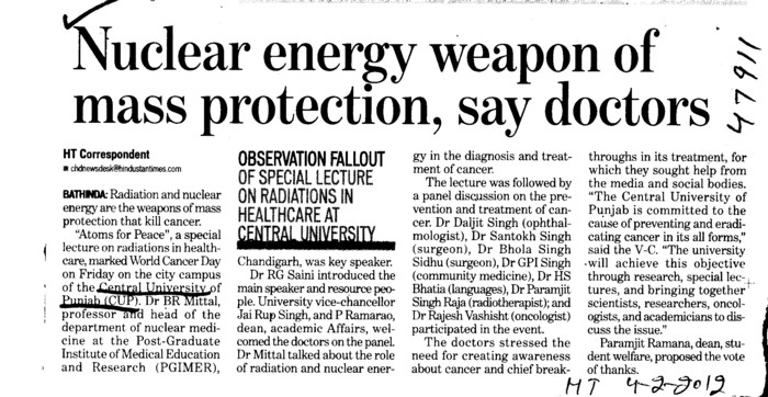 Nuclear energy weapon of mass protection say doctors (Central University of Punjab)