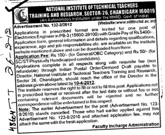 Electronics Engineer required (NITTTR)
