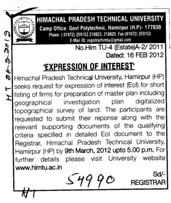 Preparation of Master plan digitalized topographical survey of land (Himachal Pradesh Technical University HPTU)