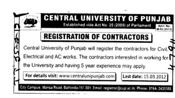 Registration of Contractors (Central University of Punjab)