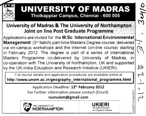 Post Graduate Programme in Management (University of Madras)