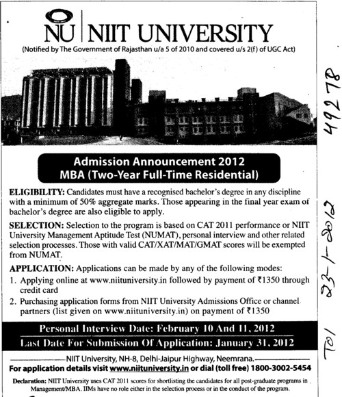 Two years MBA Course (NIIT University)