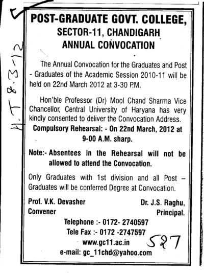 Annual Convocation 2010 2011 (Post Graduate Government College (Sector 11))