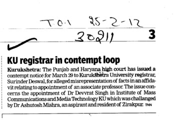 KU registrar in Contempt loop (Kurukshetra University)