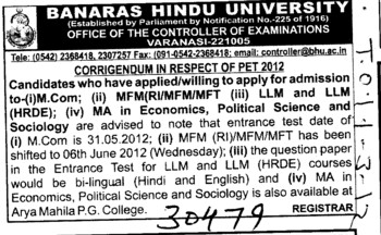 MFM,LLM and MA in Economics (Banaras Hindu University)