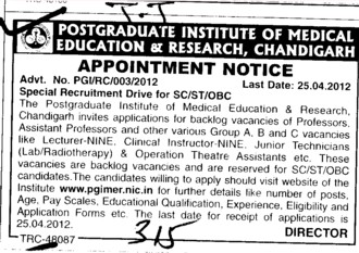Specia; Recruitment drive for SC,ST and OBC (Post-Graduate Institute of Medical Education and Research (PGIMER))