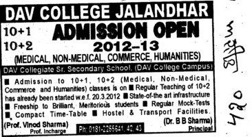 After 10th Medical,Non Medical and Commerce Programmes (DAV College)