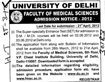 DM,MCh Courses (Delhi University)