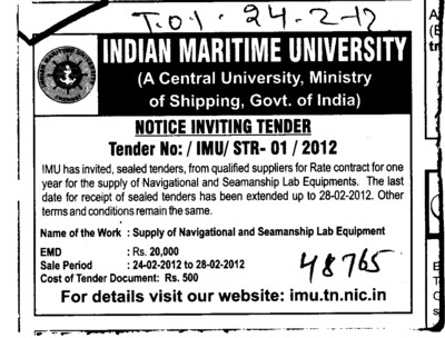 Supply of Lab Equipments (Indian Maritime University)