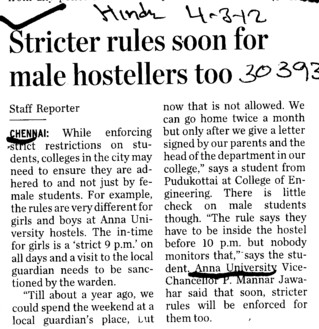 Stricter rules soon for male hostellers too (Anna University)