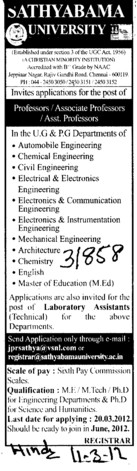 Professor,Associate Professor and Asstt Professor (Sathyabama University, Faculty of Architecture)