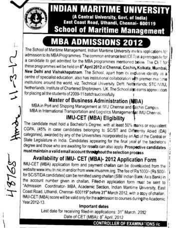 MBA Course 2012 2013 (Indian Maritime University)
