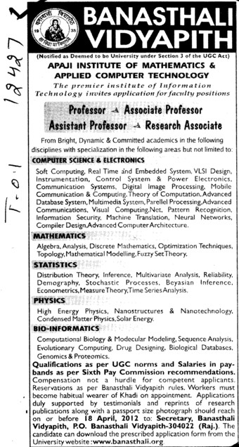 Professor,Associate Professor and Asstt Professor (Banasthali University Banasthali Vidyapith)