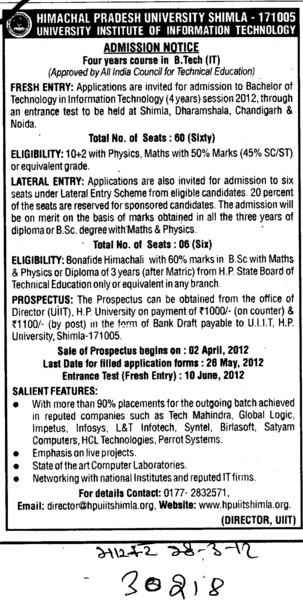 Four years BTech Course (Himachal Pradesh University)