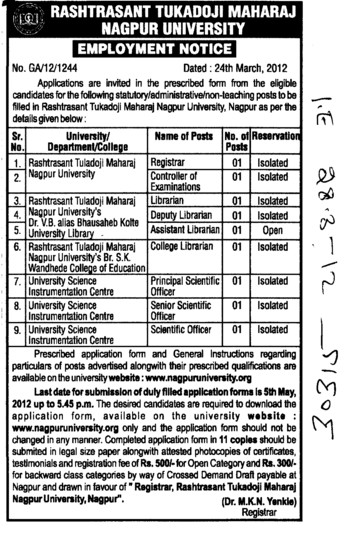 Registrar,Librarin and Senior Scientific Officer etc (Rashtrasant Tukadoji Maharaj Nagpur University)