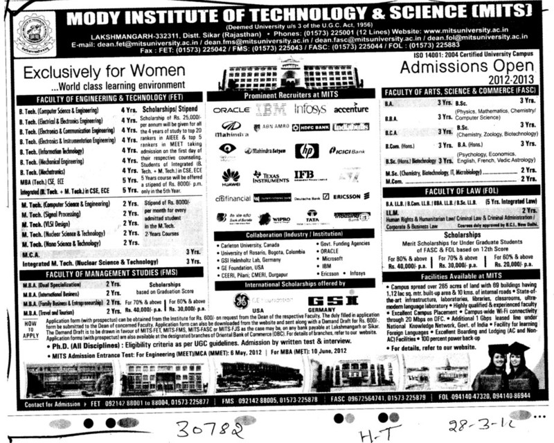 BTech,MTech,MCA Programmes (Modi University of Science and Technology (MITS))