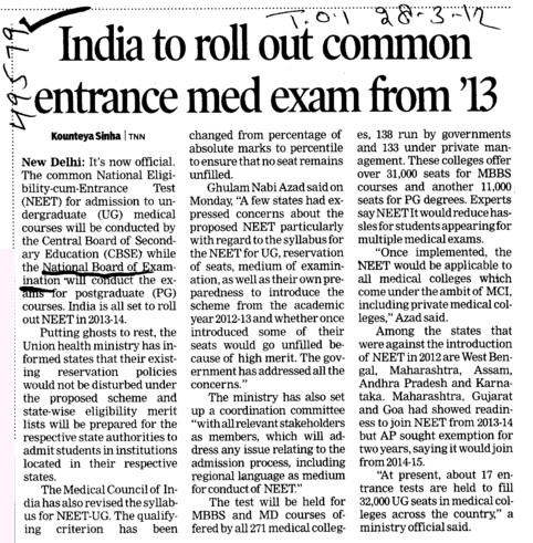 India to roll out Common entrance med exam from 13 (National Board of Examinations)