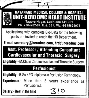 Asstt Professor,Attending Consultant Cardiovascular and Thoracic surgery (Dayanand Medical College and Hospital DMC)