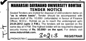 Disposal of old and condemn items on as is where basis (Maharshi Dayanand University)