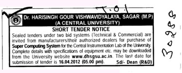 Purchase of Super Computing System (Dr Harisingh Gour University)