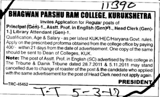 Principal,Asstt Professor and Head Clerk (Bhagwan Parshu Ram College)