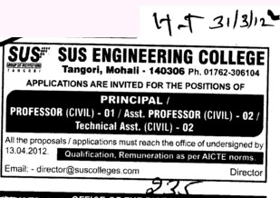 Professor,Asstt Professor and Technical Assistant (SUS College of Engineering and Technology SUSCET)