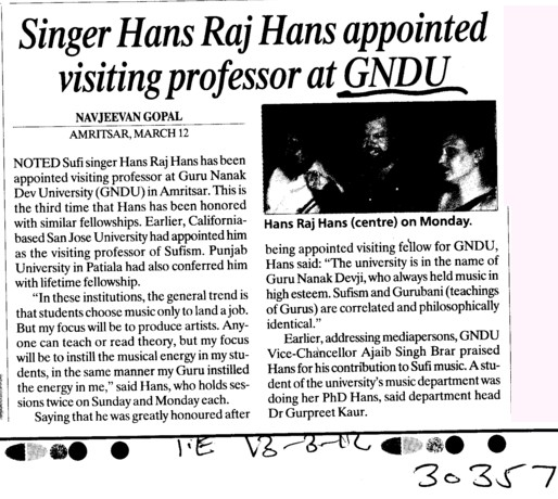 Singer Hans Raj Hans appointed visiting professor at GNDU (Guru Nanak Dev University (GNDU))